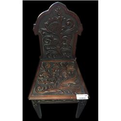 * Antique Kauri Carved Colonial Chair