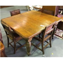 * Antique Solid Oak Extension Dining Suite w. Four Chairs