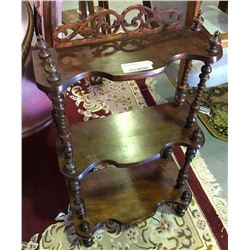 * Antique Mahogany Ornately Carved Wot Not