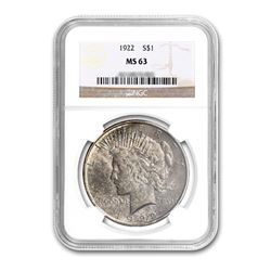 1922 $1 Peace Silver Dollar - NGC MS63