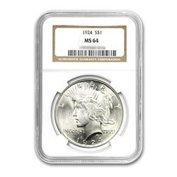 1924 $1 Peace Silver Dollar NGC MS64