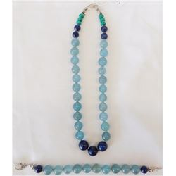 Aquamarine Bead Necklace and Bracelet