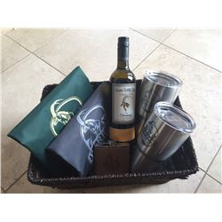 Yeti Tumblers, Flask, Wine, and Assorted Items in Basket