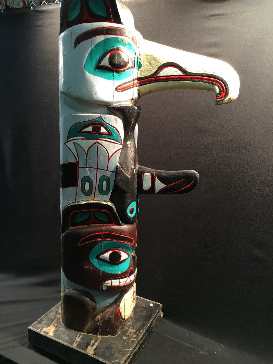 guardian spirit haida bear clan totem pole carved by a member of