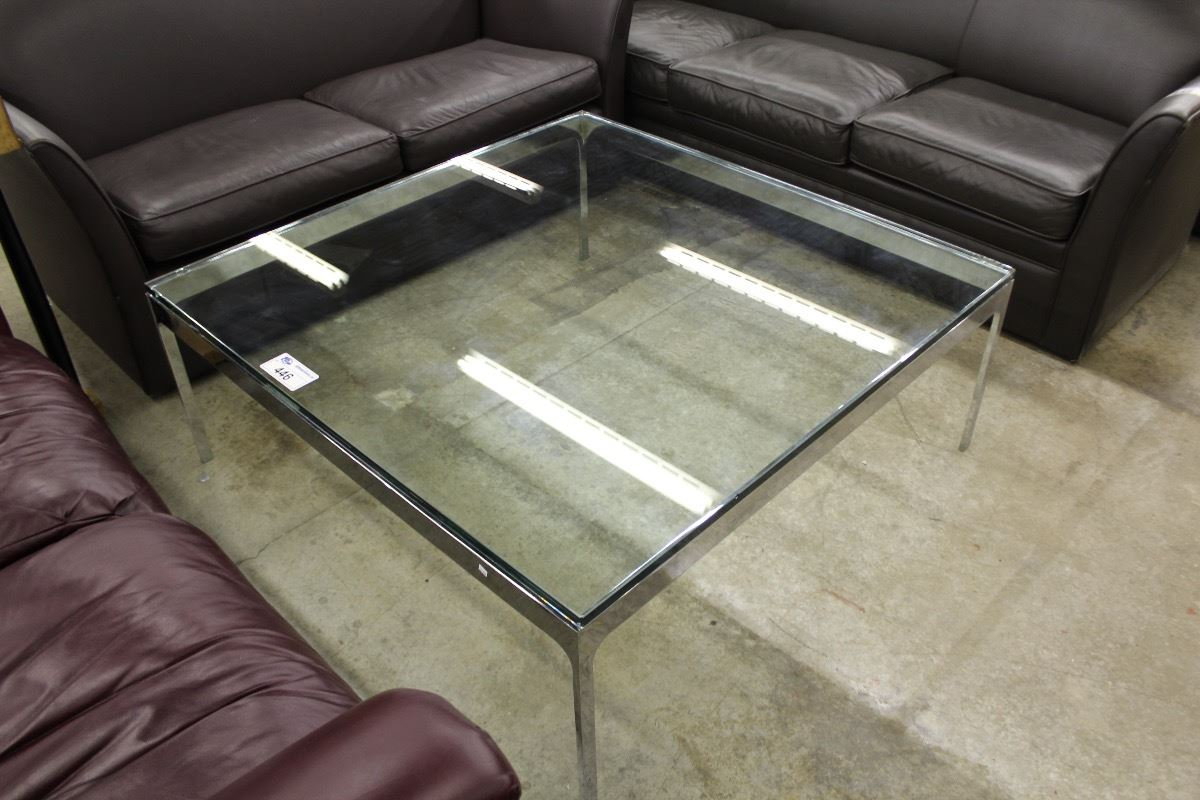4 39 Square Glass Top Coffee Table Able Auctions