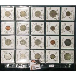 (20) Different World Coins in a plastic page. All Different and attributed. Includes  Austria, Baham