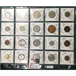 (20) Different World Coins in a plastic page. All Different and attributed. Includes Iceland, India,