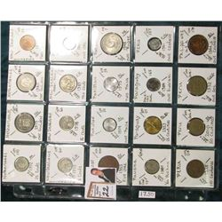 (20) Different World Coins in a plastic page. All Different and attributed. Includes  Netherlands,