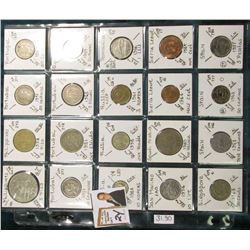 (20) Different World Coins in a plastic page. All Different and attributed. Includes Philippines, Po