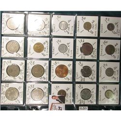 (20) Different World Coins in a plastic page. All Different and attributed. Includes  Great Britain,