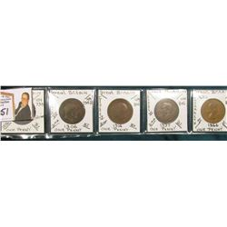 (5) Different Rulers Great Britain Large Pennies, Victoria, Edward, George V & VI, & Elizabeth II.