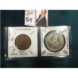 Canada 1910 Large Cent, EF & 1980 Alberta Dollar Calgary Stampede.