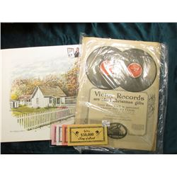 "12 1/8"" x 16 3/4"" Stan Haring Print of Herbert Hoover Birthplace, West Branch, Iowa; (4) Piece Set o"