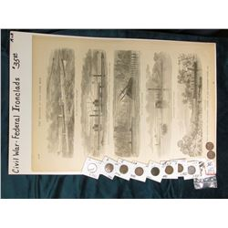 "(10) Different Indian Head Cents dating 1885-1908 & a wood cut lithograph from the book ""The Soldier"