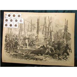 "15 3/4"" x 21 7/8"" Wood-cut lithograph from the book ""The Soldier in our Civil War"" depicting ""Gallan"