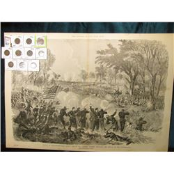 "15 1/2"" x 21 3/4"" Wood-cut lithograph from the book ""The Soldier in our Civil War"" depicting ""Battle"