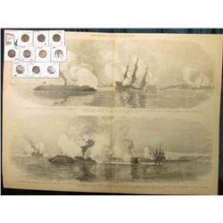 "15 1/2"" x 21 3/4"" Wood-cut lithograph from the book ""The Soldier in our Civil War"" depicting ""Naval"