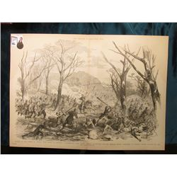 "15 1/2"" x 21 1/4"" Wood-cut lithograph from the book ""The Soldier in our Civil War"" depicting ""Battle"