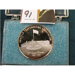 ".999 Fine Silver # 167 ""Amateur Trapshooting Association/76th Grand American/1900-1975"", numbered an"