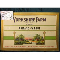 "1946 D Washington Quarter, BU; & ""Yorkshire Farm…Brand Tomato Catsup Packed For John Morrell & Co.,"