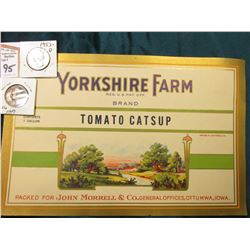 "1949 P & 53 D Super Toning on both Washington Quarters, BU; & ""Yorkshire Farm…Brand Tomato Catsup Pa"