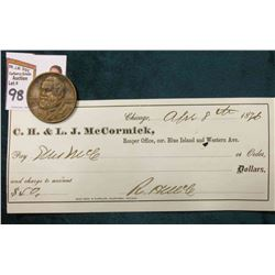 April 8th, 1876 C.H. & L.J. McCormick Check, American Financier and Nephew of Cyrus (Doc valued this