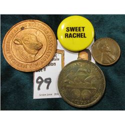 """American Aberdeen Angus Breeders Association"" Medal, uniface; ""Sweet Rachel"" Pin-back, no pin; 1946"