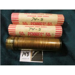 1974 P (in bad shape with plastic shrinkage) & (2) 74 S Original Uncirculated Rolls of U.S. Lincoln