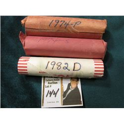 1974 P, 74 S, & 82 D (bank wrapped roll, but not sure of variety) Original Uncirculated Rolls of U.S