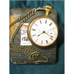 Open Face Elgin Pocket Watch with Chain. Missing minute hand and crystal. 17 Jewels. Not running. In