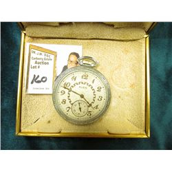 Silver Colored Elgin Open-face Pocket Watch in original Elgin Box. Not running, no crystal, 17 jewel