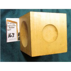 "2 1/4"" Wooden six-sided Cube with dome shaped holes of various sizes, apparently used to place cryst"