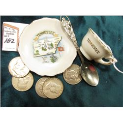"Cup and Saucer ""Tennessee"" Souvenir set; Tennessee Souvenir Spoon; & (5) Old Franklin Silver U.S. Ha"