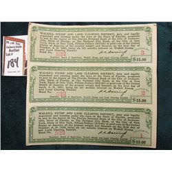"Un-cut Three Note Sheet ""Walkill Stump and Land Clearing District…Pay to the Bearer at the Florida N"