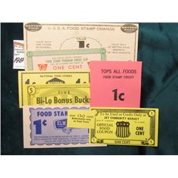 (8) Different Old obsolete Food Stamp Scrip.
