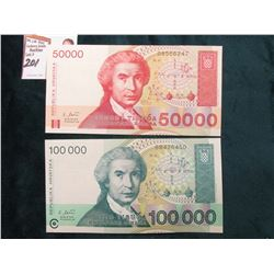 Series 1993 Republic of Hrvatska 50,000 & 100,000 Dinara Bank notes. CU.