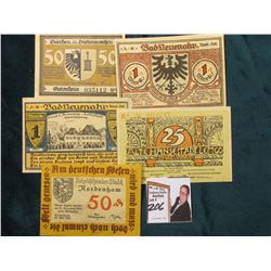 (5) Different Crisp Uncirculated German Notgeld Bank notes. 1921 era.