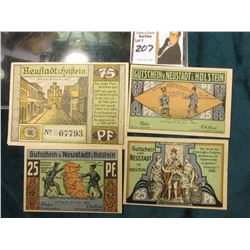 "(4) Different Crisp Uncirculated ""Gutschein von Neustadt in Holstein"" 1921 era German Notgeld Notes."