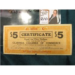 April 10th, 1933 Clarinda, Iowa Depression Scrip Extremely Rare Red Serial number. (???MS #:  IA220-