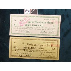March 10, 1933 Burke, N.C. Depression Scrip, MS #:  NC51-1.A & NC51-5. Burke County,  Issuer:  Burke