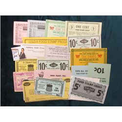 (24) Different Official Food Coupon Scrip. Used during the food stamp period as change.