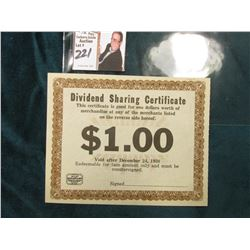 "(Chicago) ""Dividend Sharing Certificate…$1.00 Void after December 24, 1938…"" Interesting Depression"