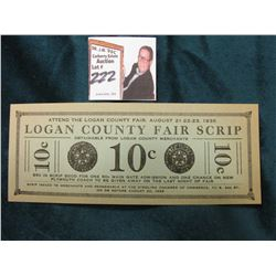 "August 20, 1935 ""Logan County Fair (Depression) Scrip"". Sterling, Colorado. 'Doc' had it noted as ""U"