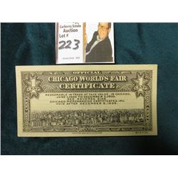 "December 5, 1933 ""Official World's Fair Certificate Redeemable in Trade at Face Value, in Chicago, J"