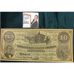 "Facsimile Confederate States of America Advertising $10 note ""…W.S. Moore, Paris, Mo."""