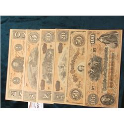 "$1, $5, $10, $20, $50, & $100 facsimile ""The Confederate States of America"" Bank notes. 'Doc' had no"