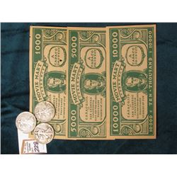 "$1000, $5000, & $10000 ""Movie Mart Currency…San Leandro, California…"", CU; & (3) World War II era U."