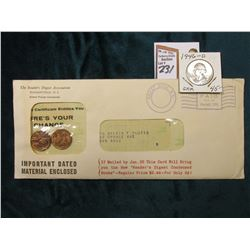 """The Reader's Digest Association Pleasantville, N.Y."" envelope, sealed with a pair of Uncirculated O"