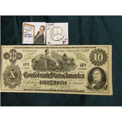 "Facsimile Confederate States of America Advertising $10 note ""…Swanson's 117 Main St. Galesburg, Ill"