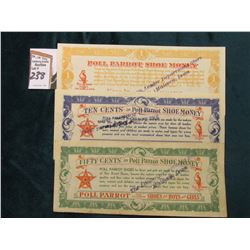 "3-Piece Depression scrip Set of ""Poll Parrot Shoe Money"" from ""The Leader Department Store Malvern,"